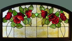 """Arched Top Antique American Floral Stained Glass Transom 52.5"""" x 29.25""""  fid12009"""