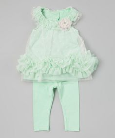 Loving this Green Ruffle Tunic & Leggings - Infant & Toddler on #zulily! #zulilyfinds