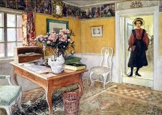 Carl Larsson School Girl in an Interior, (Brooklyn Museum, New York City) Carl Larsson, Swedish Cottage, Craftsman Interior, Arts And Crafts Movement, Large Painting, Museum Of Fine Arts, National Museum, Art Reproductions, Lovers Art