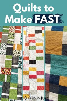 Easy Quilt Patterns for Modern Quilts. Seven easy modern quilt designs easy enough for a beginner to sew. #SewingSupport #Quilt #ModernQuilt #EasyQuilting Beginner Quilt Patterns, Quilting For Beginners, Quilting Ideas, Easy Quilts, Mini Quilts, Handmade Quilts For Sale, Traditional Quilt Patterns, Paper Quilt, Geometric Quilt