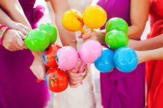 Maracas y Bridesmaids.Mexican themed wedding instead of floral bouquets, use maracas.  Photo Credit: Limelight Photography  Courtesy via Aisle Ready  #weddingbouquet #cincodemayo #culturalwedding