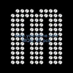 2 Inches Height Rhinestone English Alphabet M