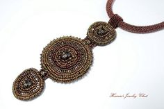 Bastet - Ancient Goddess, Bead Embroidered Necklace, Cat Necklace, Boho Necklace, Tribal Necklace, Brown Necklace, Beaded Statement Necklace via Etsy