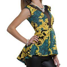 Womens Top Sleeveless Hi-Lo Floral Print Mesh Peplum Shirt Green SZ M (12.055 CRC) ❤ liked on Polyvore featuring tops, green, green shirt, sleeveless peplum top, no sleeve shirt, green top and shirt top