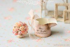 Dollhouse Miniatures, miniatura de la joyería de la Alimentación, clases de manualidades: Casa de muñecas en miniatura Bouquet- rosa Susurros