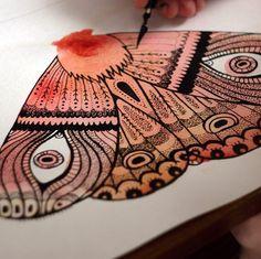 illustrator Samarskaya Milana  #moth #butterfly #wings #eyes #process #Painting #illustration #watercolor #nature #insect