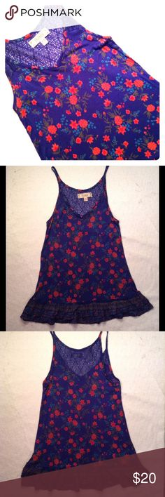"Decree floral tank Decree floral tank. Size M/M. Excellent unworn condition. Armpit to armpit 15"". Armpit to bottom hem 18"". LOWEST PRICE-NO OFFERS Decree Tops Tank Tops"