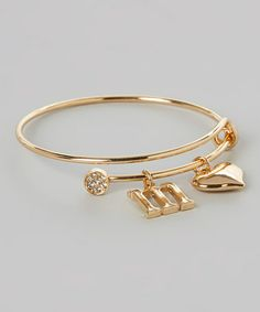Another great find on #zulily! Gold Heart Initial Charm Bracelet by Bangled+Charmed #zulilyfinds