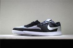 """02589fb3dd75a9 2018 New Air Jordan 1 Low Flyknit """"Shadow"""" Black Wolf Grey-White"""