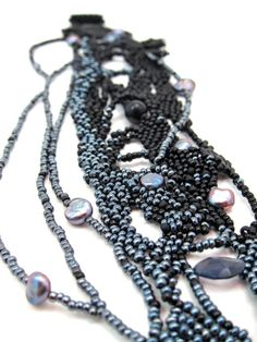 Black Swag Freeform Beadweaving Cuff Bracelet OoaK by aimeere