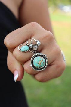 Round Turquoise Statement Ring Boho Chic by SterlingToLove on Etsy