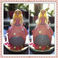 Another cake order, a princess cake with pink and purple...