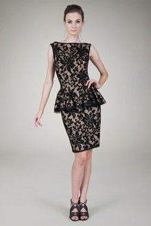 Embroidered Lace Peplum Cocktail Dress