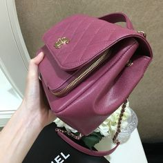 fe6e69f89dc (SOLD) 🌸 Chanel Medium Business Affinity Flap Classic Quilted In Mauve  Purple Pink Caviar