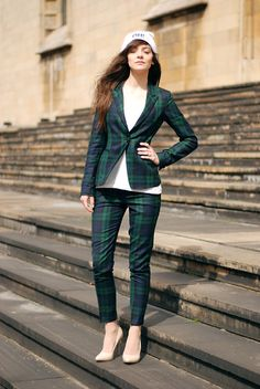 Plaid suit and basic top...mixing white and nude...