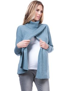 Sea Mist Draped Maternity & Nursing Sweater | Seraphine >>> www.seraphine.com In a soft blue marl shade, our luxurious Draped Maternity & Nursing Sweater is finely knit in a soft blend of cotton, lamb's wool and cashmerematernity clothes | maternity style | pregnancy fashion |  maternity fashion first trimester | pregnancy style chic | pregnant | mom to be | bump style | BabyBump | ExpectingMom | Fashion | Bump | Pregnancy | Seraphine | Fashion Mom | Maternity | Style | Mom | Dress | MomTo