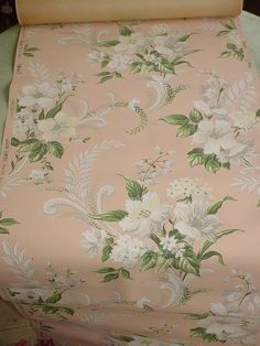 Vintage Pink Wallpaper Tropical Barkcloth Era by SimplyCottageChic, $15.00
