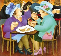 Beryl Cook ~ ladies who lunch, 2005  ~  Two women in their finery enjoying their lunch; but they are not the 'ladies who lunch' in smart cosmopolitan restaurants so beloved of the gossip columns.  My ladies may be dressed to the nines but they have brought their own lunch to the pub and they are drinking Guinness straight from the bottle! And they are smoking as well – I expect the PC brigade have me marked down as a subversive influence don't you.