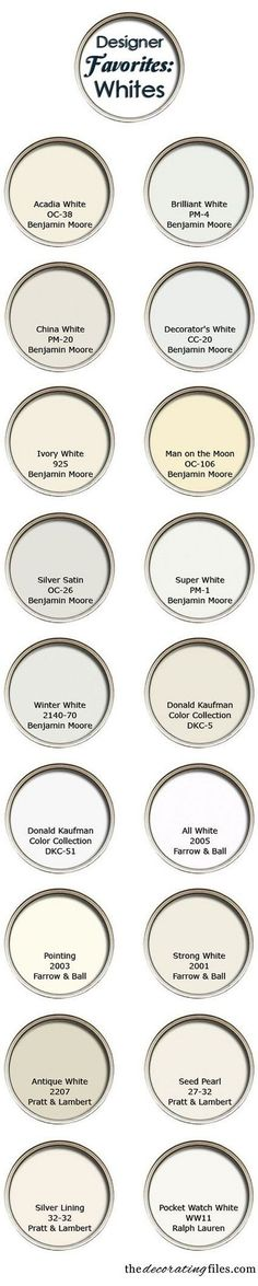 Discover more shades of white - 50 Amazingly Clever Cheat Sheets To Simplify Home Decorating Projects Source by marshawerning Decor white White Paint Colors, Interior Paint Colors, Diy Interior, White Paints, Wall Colors, House Colors, Interior Design, Interior Painting, Neutral Paint