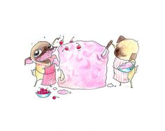 Funny Pugs Birthday Card - Cute Pug Happy Birthday Cake Card - Pink Frosting and Cherries on Top from InkPug! on Etsy, $4.50