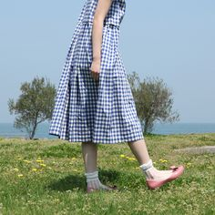 シースルーリボンストライプショートソックス  靴下屋 /¥735 Gingham, Midi Skirt, Tights, Socks, Skirts, Vintage, Dresses, Style, Fashion