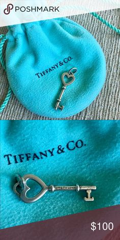 Rare Tiffany & Co. Heart Pendant Tiffany & Co Key Heart pendant AG925 Small. Comes with original drawstring pouch. Tiffany & Co. Jewelry Necklaces