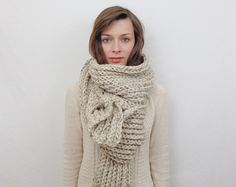 SALE The Celtic knit Woven Scarf Pattern giant door LoopTeeLoops