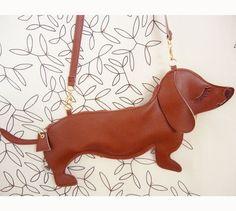 Large BBQ the Dachshund Dog Cute Vintage Inspired Brown Vinyl Side Strap Clutch Purse Bag