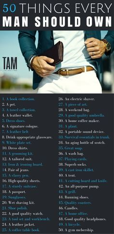 50 Things Every Man Should Own To Win At Life - - The things you surround yourself with become an extension of yourself as a man. Here are 50 things every man should own. How many can you tick off? Men Tips, Men Style Tips, Style Men, Beard Style, Mens Style Guide, Trendy Style, Gentleman Rules, Dapper Gentleman, Gentlemens Guide