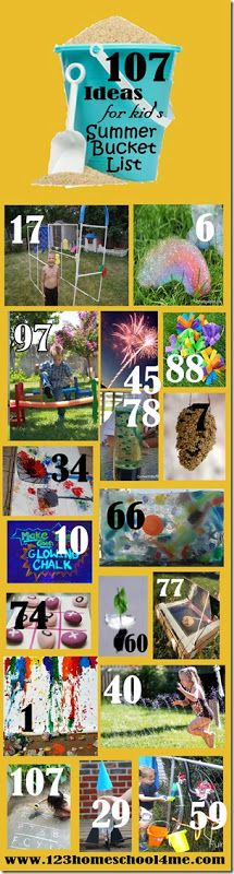 107 Must do ideas for kids summer bucket lists.  I always had my kids create a mini-summer-bucket list at the end of a school year.  It had to include places locally to go, day/overnight trips, things to learn, something to create, a place to organize, a skill to improve, ways to grow in the Lord, and specific people in their lives they wanted to reconnect with
