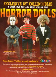 Horror Dolls at Spencer Gifts I had the Michael Myers doll and just remembered I gave it away...WHY?