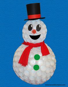 Sono veramente simpatici i pupazzi di neve; purtroppo non tutti possiamo realizzarli con la neve!?! Ma ognuno, procurandosi dei semplici bicchieri di plastica, potrà averne uno in casa (senza la pa...