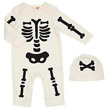 Buy John Lewis Baby Halloween Skeleton Playsuit and Hat Set, Cream Online at johnlewis.com