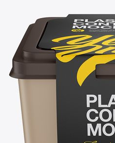 Matte Plastic Container With Paper Label Mockup - Front View