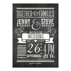 MODERN CHALKBOARD WEDDING INVITATION.  Invitations are discount sale priced 40% OFF when you order 100+ Invites. #wedding  http://www.zazzle.com/modern_chalkboard_wedding_invitation-161946030657157107?rf=238133515809110851&tc=PinterestMsPlnr