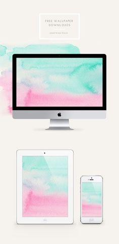 Free watercolor desktop wallpaper    Something Peach