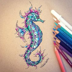 """""""I finished my weird little seahorse and I think it looks pretty cool! I used Strathmore toned tan paper, Prismacolor colored pencils, GellyRoll white gel…"""""""