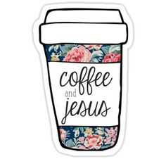 Coffee and Jesus Navy Floral Mug Pegatina Laptop Stickers, Cute Stickers, Preppy Stickers, Printable Planner, Planner Stickers, Printables, Coffee Cup Art, Ipad Background, Tumblr Stickers