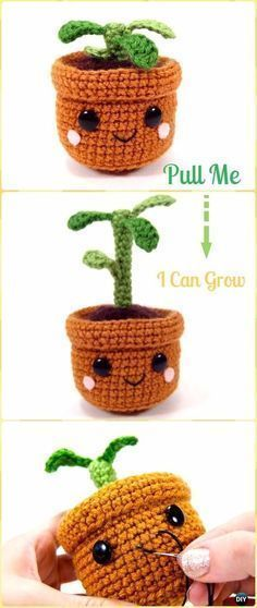 Cute Crochet Patterns Crochet Pull and Grow Amigurumi Plant Free Pattern - Crochet Plant Free Patterns - Crochet Amigurumi Plant Free Patterns: amirigumi plant softies and home decoration. crochet cactus, crochet sunflower baby, crochet groot and Crochet Kawaii, Crochet Diy, Crochet Amigurumi Free Patterns, Crochet Flower Patterns, Crochet Gifts, Crochet Dolls, Knitting Patterns, Crochet Cactus Free Pattern, Crochet Flowers