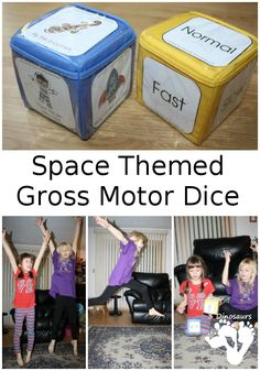 Free Space Themed Gross Motor Dice - 2 sets of dice for kids to get moving and with space themes - 3Dinosaurs.com