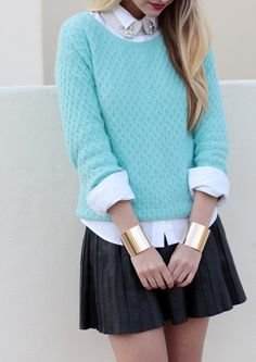 Gold cuffs + skater skirt + minty blue sweater