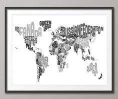 Typography Text Map of the World Map, Art Print - 12x16 up to 24x36 inch (909)