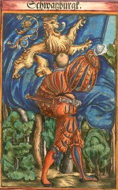 """Schwarzburg [Schwatzburgk] (f°27) -- Koebel, Jacob, """"Wapen des heyligen römischen Reichs teutscher Nation"""", Franckfurth am Main, 1545 [BSB Ms. Rar. 2155]"""