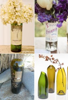 Vase Ideas For Centerpieces Wine bottle vases! What? Yes! Such a creative way to display your flowers. You can even keep the labels on for a vintage look, or remove them with soap and water. For instructions on how to cut a wine bottle visit Picklee. My husband would love to do this project. Anything that involves breaking glass and science – I'm pretty sure he's all in.