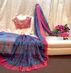 floral saree with embroidery blouse 1