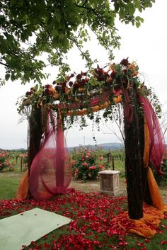 Chuppah- Jewish tradition symbolic of the bride and groom's dwelling together and of the newly husband bringing his new wife into his home.