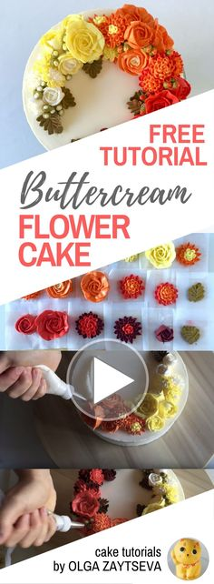 HOT CAKE TRENDS How to make Buttercream ombre roses and chrysanthemums cake - Cake decorating tutorial by Olga Zaytseva. Learn how to make buttercream roses, pipe chrysanthemums and create this Autumnal floral wreath cake with ombre effect. #flowercakes