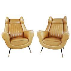 Rare Italian Ocher Leather Wingback Chairs with Brass Feet, Pair, circa 1960 | 1stdibs.com