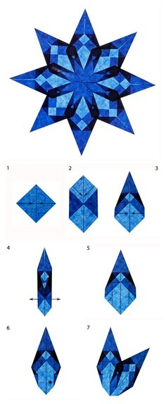Magical Window Stars - origami tutorials for several different stars - on Deschdanja (site is in German) at http://www.deschdanja.ch/kreativ-blog/74-zauberhafte-fenstersterne