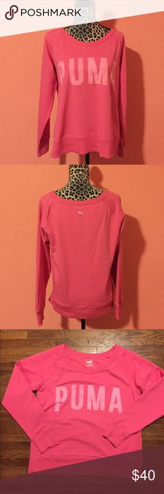NWOT Puma Bubblegum Hot Pink Sweatshirt Sweater L PUMA Pink Sweatshirt Pullover in size Large Sweatshirt is made of 68% Cotton / 25% Polyester / 7% Elastane. Fabric is dry cell to absorb perspiration.  Features large PUMA letters logo on the front, ribbed hemline/sleeve cuffs, and raglan sleeves.  Never worn but tags are no longer attached (no holes, smells, or stains). Measurements (taken laying flat): Bust 21 1/2  Waist 21 1/2  Sleeve Length: 28  If you have any questions feel free to ask…